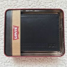 Levi's Men's Genuine Leather Extra-Capacity Slimfold Wallet - Black