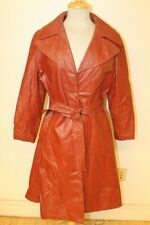 WOMENS VINTAGE chili RED LEATHER BELTED TRENCH COAT/JACKET SZ 16
