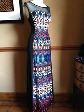 Stunning Optical Illusion Maxi Dress 10 Slimming Stretch Aztec Tribal Boho 70s