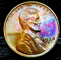 """1938-D Lincoln Wheat Penny Cent- """"Beautifully Toned"""" SUPERB MS++ GEM++ BU++ 00"""