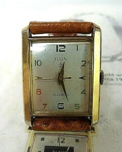Vintage 1950's Men's Elgin Tank 19 Jewel Cal. 752 Gold Tone Watch 4 REPAIR