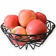 Fruit Bowl Wire Scroll Egg Basket Vegetable Bin Black EASYVIEW