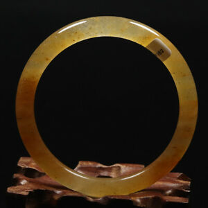 56mm Grade A Certified 100% Natural Yellow Brown Icy Jade Bangle Bracelet 61852