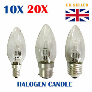 10/20X Eco Halogen Clear Candle Light Bulb  B22 E14 E27 Dim Energy Saver