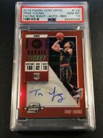 TRAE YOUNG 2018 CONTENDERS OPTIC RED 124 FACING RIGHT AUTO ROOKIE RC /149 PSA 10