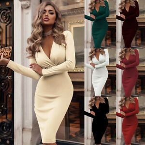 Womens Fitted Work Party Ladies Wrap Shift Long Sleeve Pure Plunge Midi Dress