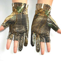 Camouflage Half Finger Gloves for Fishing Shooting Hunting Cycling Sport Elastic