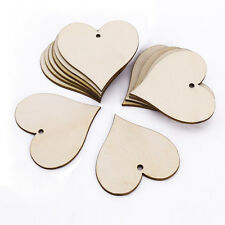 25 x Wooden Heart Shape Tags Wedding Table Favors String Craft Scrapbooking Gift