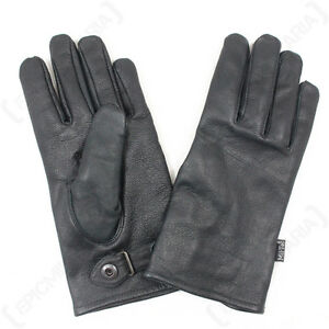 German Army Style Leather Gloves - Military Combat Black Lined Airsoft Paintball