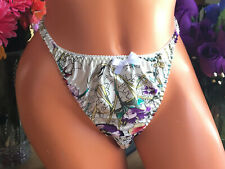 Tiny Roses on Black 9//2XL Shiny Silky SATIN String Bikini Brief Panties NWOT