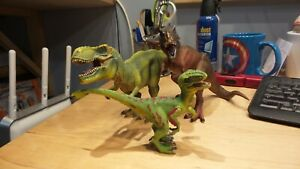 Schleich and Papo Tyrannosaurus Rex and Raptor Lot