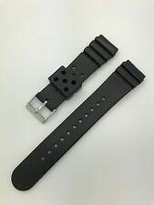 22mm Black Rubber Pro Divers Sport Waterproof Hadley Roma Watch Band MS3126