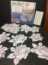 Wallies Wallpaper Cutouts Pre-Pasted Crafts Decopauge Blue Toile Roses Flowers