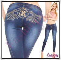 Women's Jeans Skinny Angel Wings Casual Ladies Denim Trousers Size 8,10,12 UK