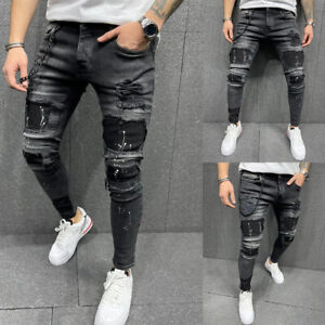 Mens Ripped Denim Pants High Waist Jeans Stretchy Skinny Trousers Casual Bottoms