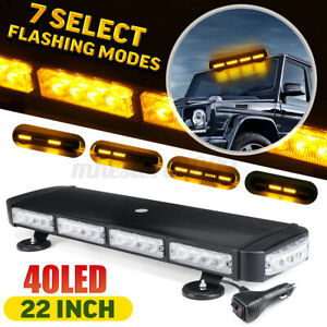 """22"""" Amber/Yellow LED Strobe Light Bar Warning For Jeep Tow Trucks  Roof Beacon"""