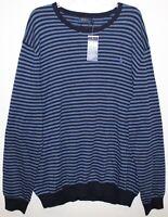 Polo Ralph Lauren Mens Blue Stripe 100% Pima Cotton Crewneck Sweater NWT 2XL XXL