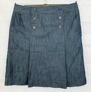 M&S Womens Indigo Blue A-Line Skirt Size 18