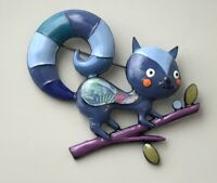 Adorable artistic large Squirrel brooch  enamel on metal