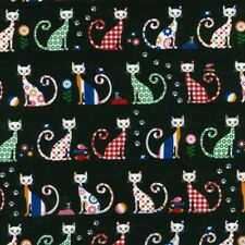 Fat Quarter Whimsical Cats - Felix - on Black 100% Cotton Quilting Fabric-NUTEX