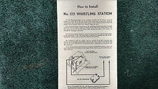 LIONEL # 125 WHISTLING STATION INSTRUCTIONS PHOTOCOPY