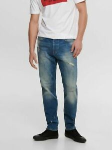 NEW SALE!! Only & Sons ONSAVI DAMAGE TAPERED FIT JEANS W31 L32
