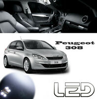Peugeot 308 kit 11 Ampoules LED Blanc Habitacle Plafonnier Coffre Sols tapis