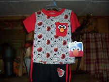 SESAME STREET ELMO TODDLER 2 PIECE SHIRT AND SHORT SET SIZE 3-6 MONTHS COLOR RED