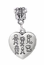 Family of 5 Heart Son Daughter Baby Dog Dangle Charm for European Bead Bracelets