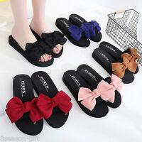 Women Summer Sweet Cloth Bowknot Platform Creeper Sandals Shoes Flip Flops HX
