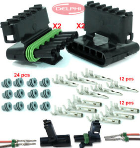 Delphi Packard Weatherpack 2 Set (6 Circuit) Terminal Kit 14, 16 AWG Made in USA