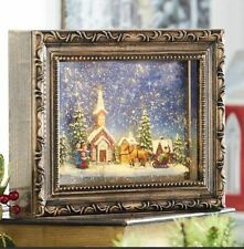 Town Scene Lighted Hanging Picture Frame Water Lantern in Swirling Glitter