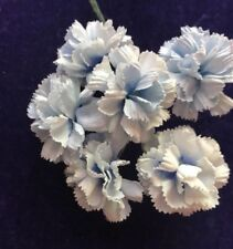"Vintage Millinery Flower Frilly Pale Blue 1"" Mini Carnation Bunch of 6 Japan NB"