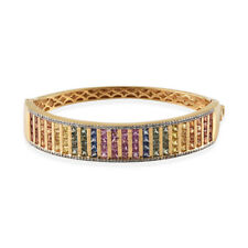 TJC 16 Ct Rainbow Sapphire Bangle for Women 14k Gold Plated Silver Size 7.5""