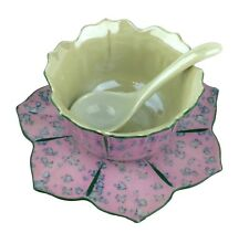 Flower Shape Pink Blue Green Chikusa Goldcastle Hand Painted Trifle Bowl & Spoon