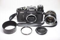 Canon F-1 35mm SLR Black Film Camera Body FD 50mm F/1.4 MF Lens Made In Japan