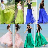 Women Candy Color Summer Boho Chiffon Pleated Long Maxi Dress Sundres Skirt