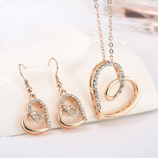 Gold Silver Love Heart Silver Necklace Earrings Set Costume Rhinestone Jewellery