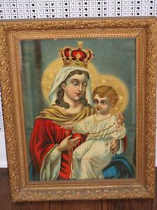VTG ANTIQUE RELIGIOUS PRINT-MARY & BABY JESUS-AMAZING OLD FRAME-WOOD BACKING-LRG