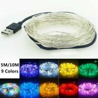 5-10M USB 100LED Silver Wire String Fairy Light Strip Lamp Xmas Party Waterproof