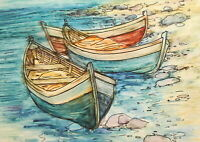 Vintage watercolor painting impressionist seascape boats