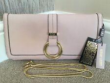 BiBA Pale Blush Pink Grained Leather Clutch Shoulder Bag