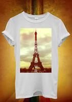 Bonjour Paris Eiffel Tower Hipster Men Women Unisex T Shirt Tank Top Vest 747