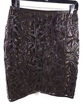 CARLISLE CUT OUT 100% leather BROWN MINI skirt size 2