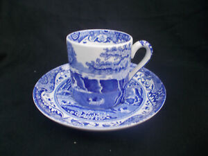 Spode BLUE ITALIAN  Coffee Can and Saucer.