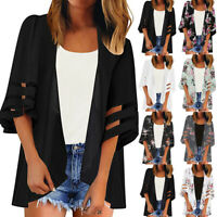 Women Mesh Panel 3/4 Bell Sleeve Floral Chiffon Casual Loose Kimono Cardigan