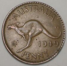 1949 Australia Australian One 1 Penny Kangaroo Coin Vf Spots