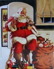 Vintage Christmas Santa  Old Fridge Bag of Toys Coke