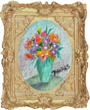 FLORAL Stillife Framed Org. Watercolor Dollhouse Picture Painting Artist Signed