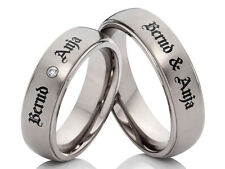 2 Engagement Rings Wedding Rings from Titanium with Laser Engraving